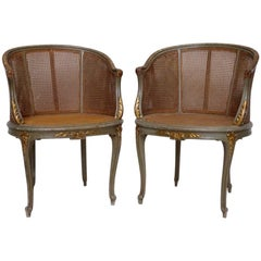 Pair of Louis XV Style Celadon Lacquered Caned Armchairs, circa 1900
