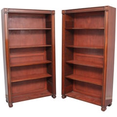 Pair of Regency Style Mahogany Open Bookcase's