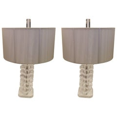 Glamorous Pair of Glistening Lucite Lamps