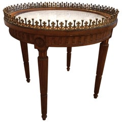 Lovely French Carved Wood and Marble Cocktail Side Table