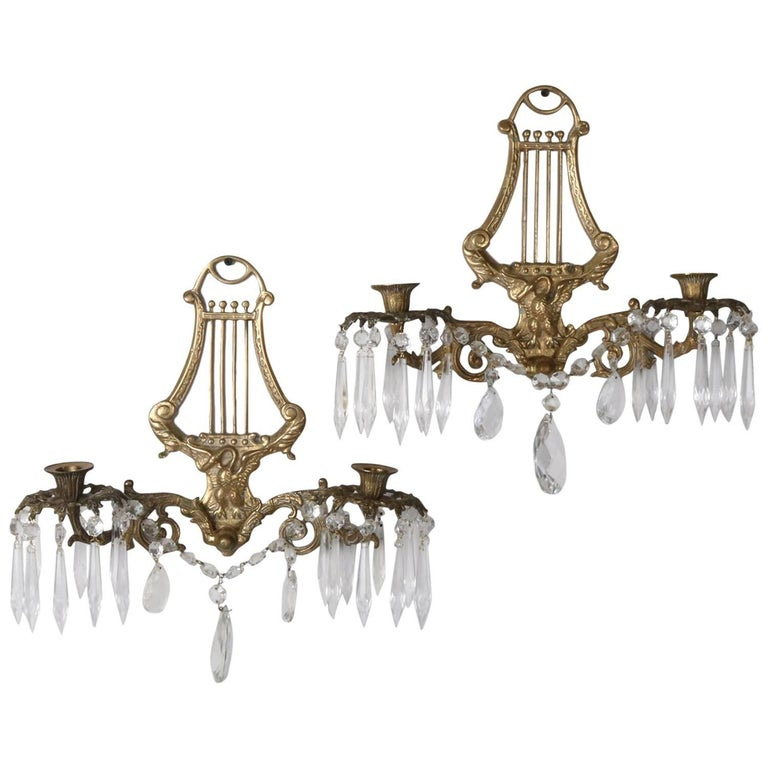 Pair of Bronze Cast Lyre and Swan Form Dual Light Crystal Sconces, circa 1930 For Sale