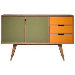 Otto Sideboard,hand veneered plywood in European oak/orange and green.