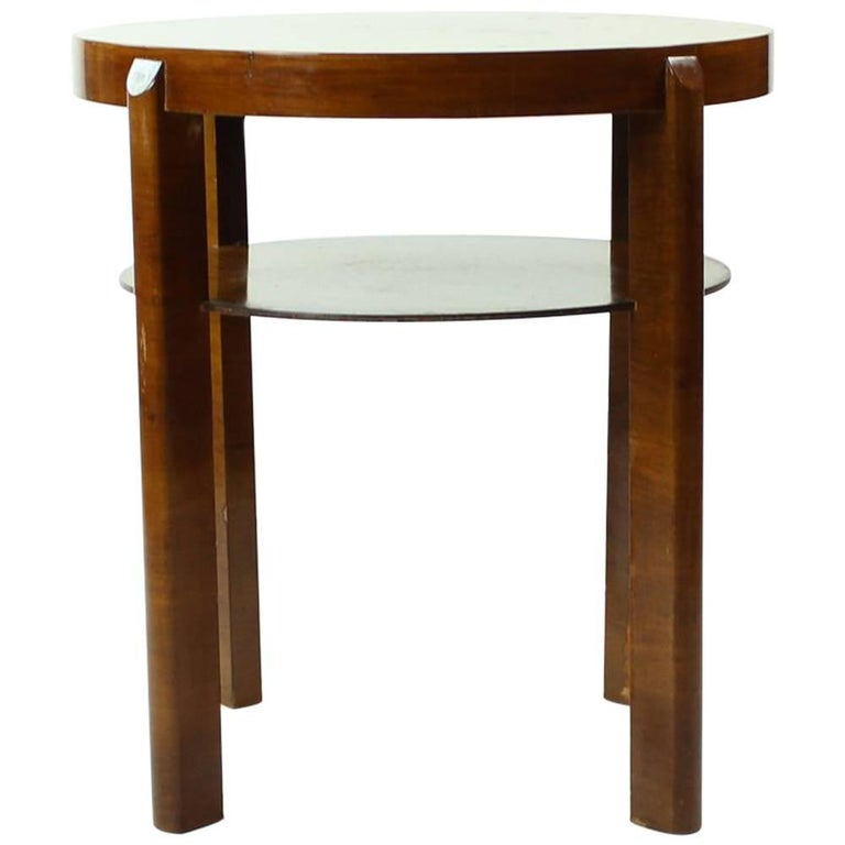 Round Side Table by Jindrich Halabala in Walnut Veneer, Czechoslovakia, 1930s For Sale