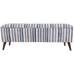 Bench, Upholstered with an Early 20th Century Mazandaran Indigo Jajim