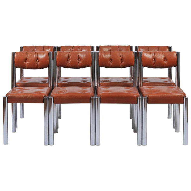 Set of Eight French 1970s Chrome and Brown Leather Dining Chairs