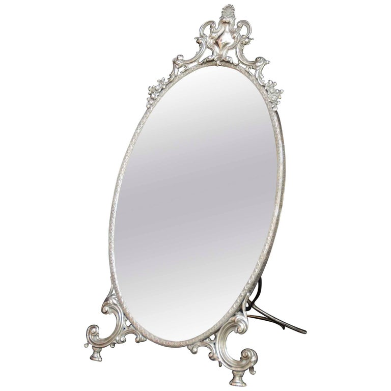 Late 19th century Portugese silver table mirror
