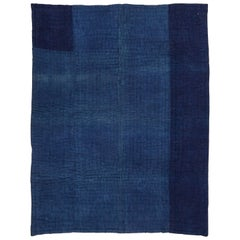 Early 20th Century Mazandaran Indigo Coloured Quilt with a Jajim Front