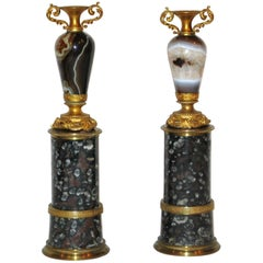 Rare Pair of Gilt-Bronze Mounted Agate Miniature Vases on Pedestals