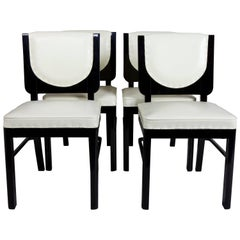 Completely restored ArtDeco French Ebony Set of Chairs, 4 pcs, Period: 1920-1929