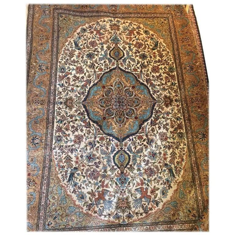 Stunning 20th Century Silk Hereke Carpet, Turkish