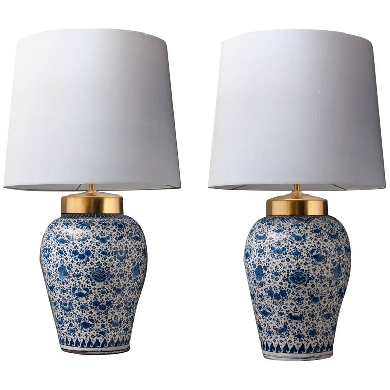 18th Century Near Pair of Dutch Delftware Vases Converted into Lamps