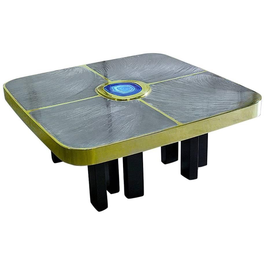 """Brass and Pewter Coffee Table with Blue Agate Stone """"Arges"""""""