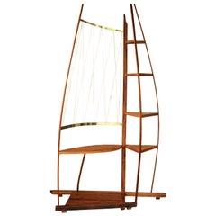 """Al Viento"" Organic Modern Bookcase, Brazilian Hardwood and Brass by Deodato"