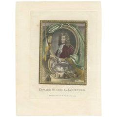 Antique Portrait of Edward Russel, 1st Earl of Orford by J. Houbraken, 1775