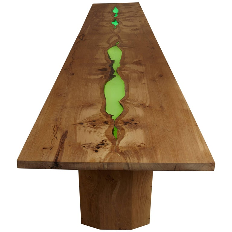 Contemporary dining table, live edged, book matched English oak, clear resin