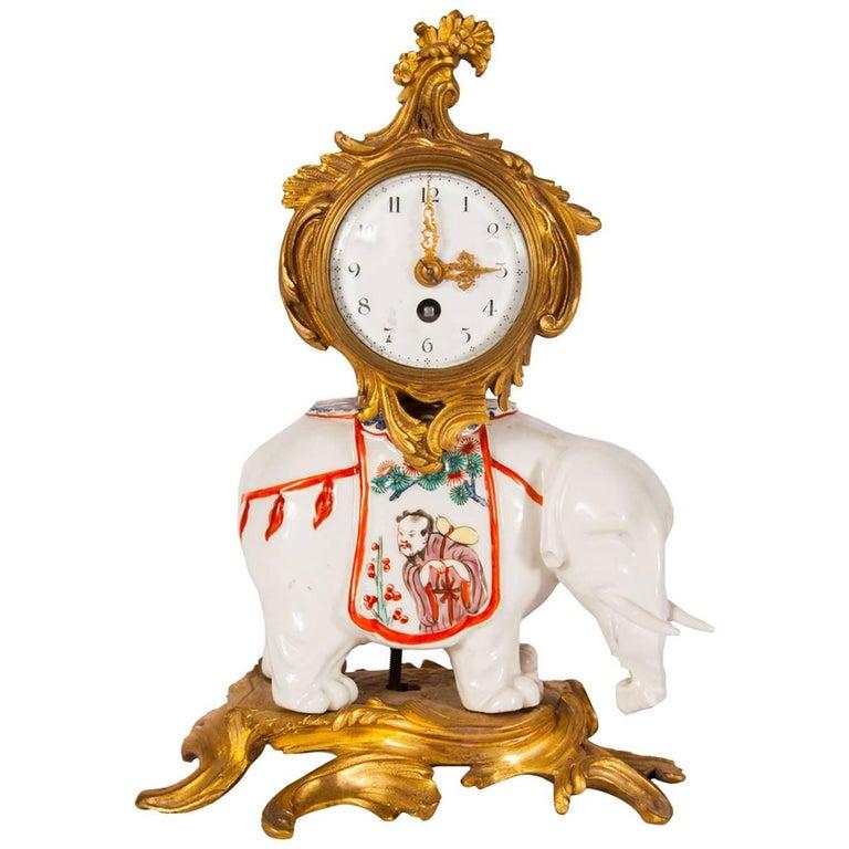 Samson Porcelain and Antique Ormolu Chinoiserie Elephant Clock
