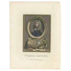 Antique Portrait of Sir Samuel Garth by T. Cook, circa 1775