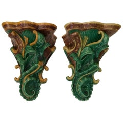 Pair of Delightful Vintage English Majolica Wall Brackets