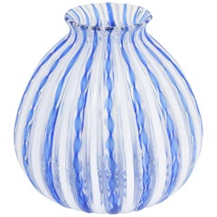 Murano Blue Ribbon and White Stripe Italian Art Glass Vase