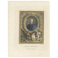 Antique Portrait of Peter 'or Pierre' Corneille by W. Walker, circa 1775