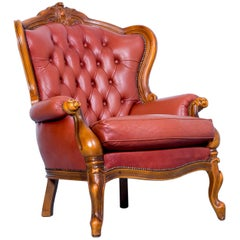 Chesterfield Armchair Leather Red Brown Orange One Seat Barock Vintage Retro