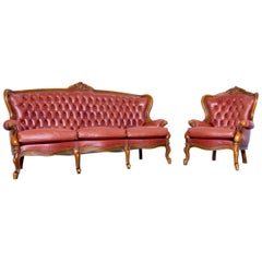 Barock Chesterfield Sofa Red Brown Leather Three-Seat Couch Vintage Rivets