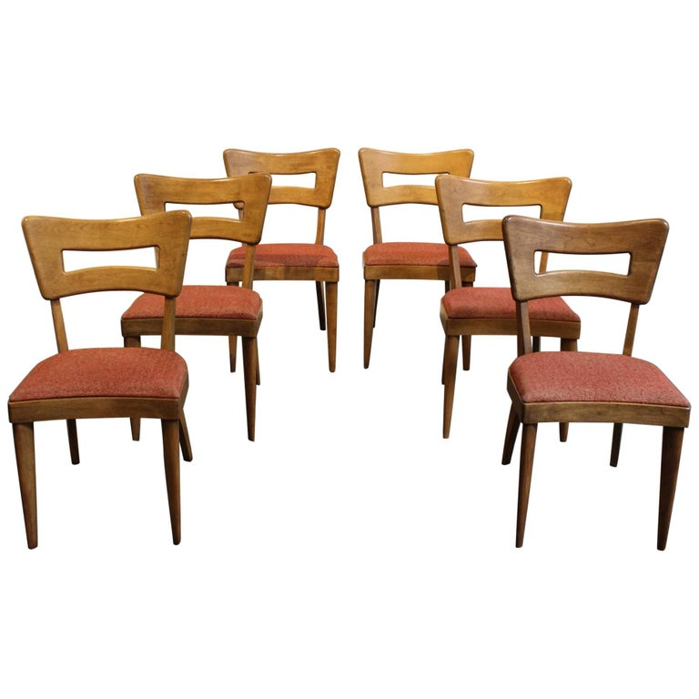 Heywood wakefield m154 dogbone dining chairs set of six for Iconic mid century modern furniture