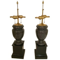 Handsome Pair of Black Granite Urn Shaped Lamps