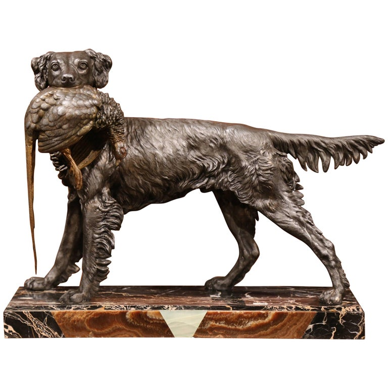 Large 19th Century French Spelter Hunting Dog Sculpture on Colorful Marble Base