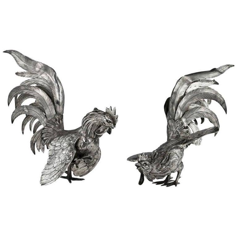 Antique German Solid Silver Pair of Ornamental Fighting Cockerels, circa 1910