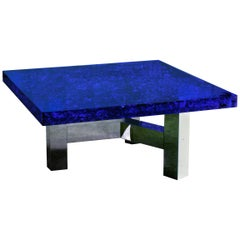 "Blue Lucite and Murano Glass Coffee Table Nickel-Plated Brass Base ""Riflessioni"""