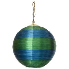 Midcentury Fiberglass Green and Blue Hanging Ball Lamp