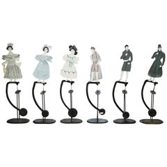 Set of Six Decorative Silhouettes in Motion on Stands