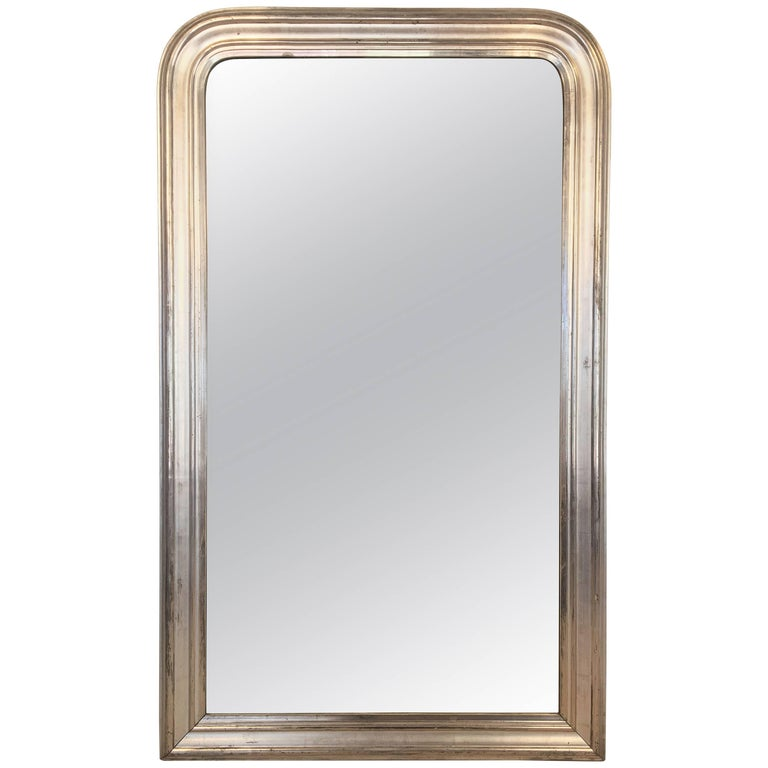 Louis Philippe Silver Gilt Mirror (H 53 1/2 x W 32) For Sale
