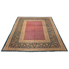 Antique Maroon and Turquoise Indian Agra Area Rug