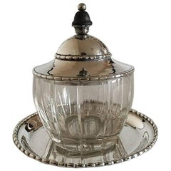 Grann & Langley Lid with Crystal Jar on a Georg Jensen Sterling Silver Tray #209