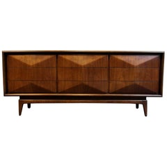 Mid-Century Modern Diamond Front Walnut Wood Dresser by United Furniture