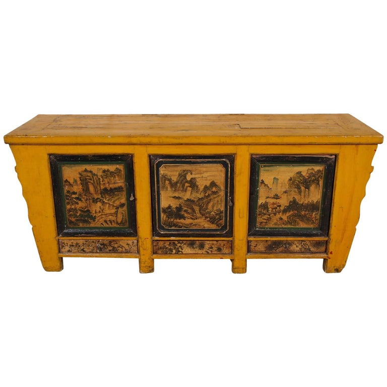 Antique Chinese Yellow Paint Decorated Cabinet