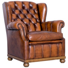 Chesterfield Armchair Leather Brown One Seat Couch Retro Vintage Rivets