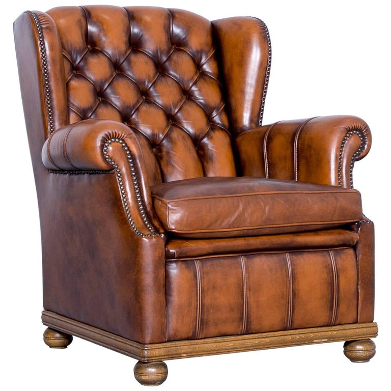 Chesterfield Armchair Leather Brown One Seat Couch Retro