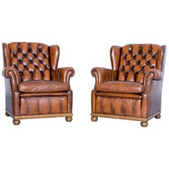 Chesterfield Armchair Set of Two Leather Brown One Seat Couch Retro Rivets