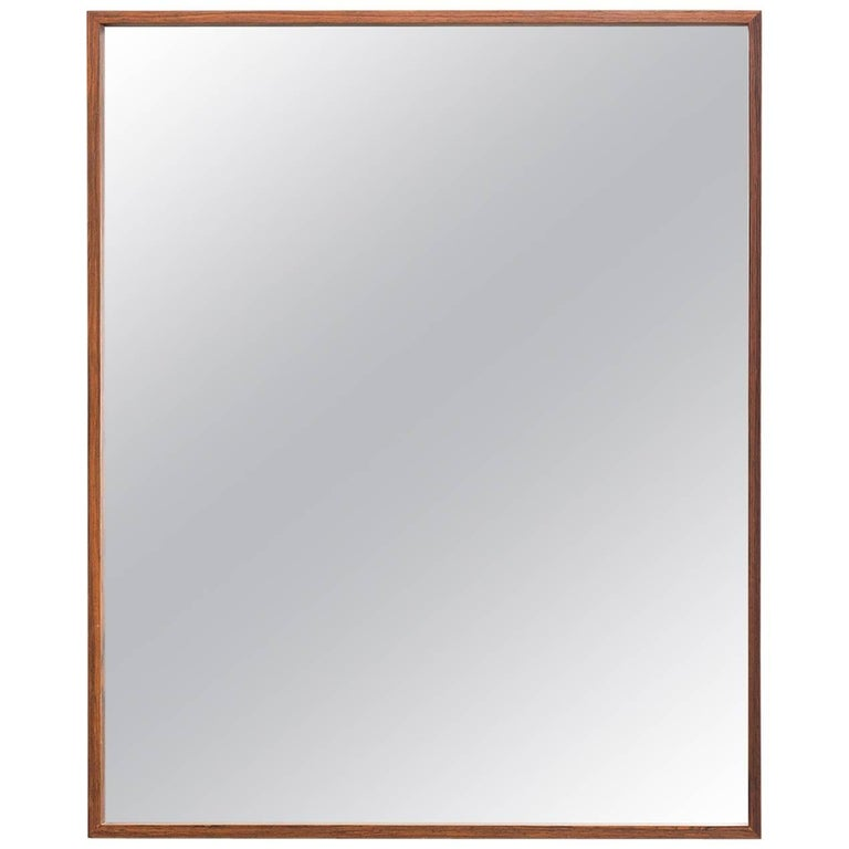 Large 1960s Rectangular Rosewood Mirror by Glass & Tra