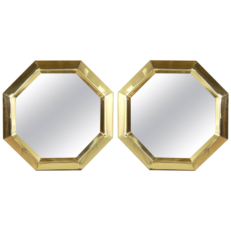 Octagonal Brass Frame Mirrors