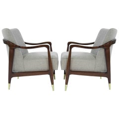 Gio Ponti Style Sculptural Walnut Lounge Chairs