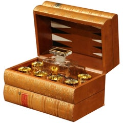 Mid-20th Century French Cave À Liqueur Leather Book with Shot Glasses and Carafe