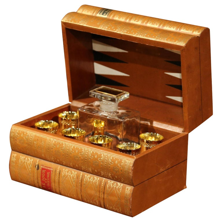 Mid-20th Century French Leather Book Liquor Box with Shot Glasses and Carafe For Sale
