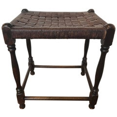 19th Century Oak Stool with Leather Strapping