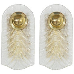Italian Murano Glass and Brass Sconces
