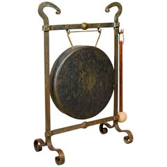 Large Bronze Dinner Gong, Iron Frame, Medieval Styling, Victorian, circa 1900