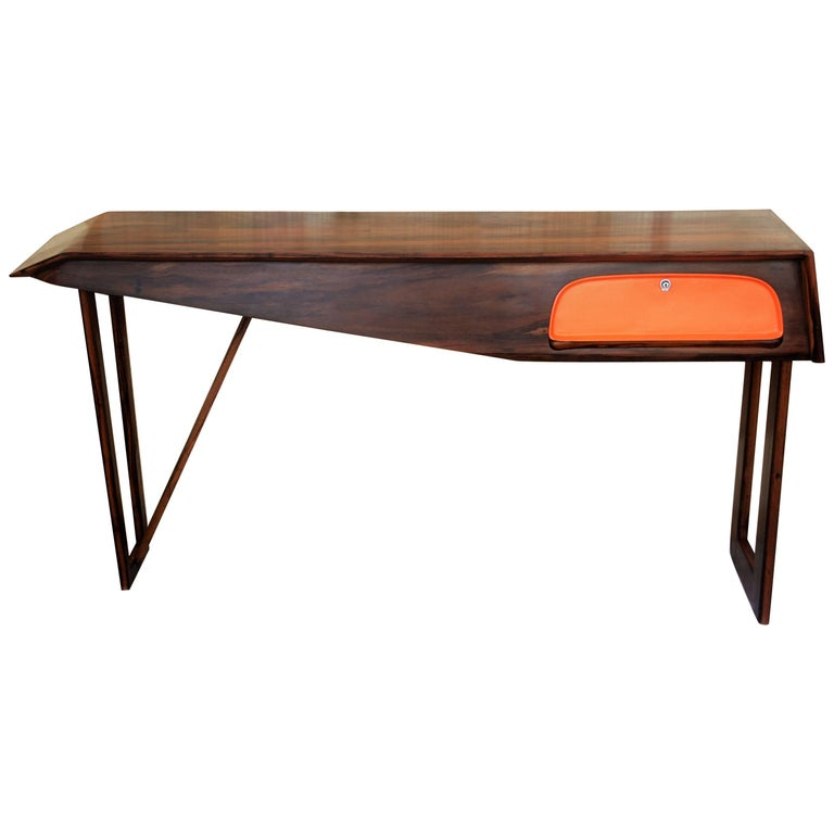 Modern Console Table in Hardwood and Steel, Brazilian Design, Single Edition